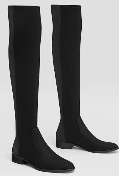 black fabric flat over-the-knee boots