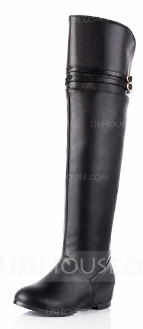 black flat tall over-the-knee boots