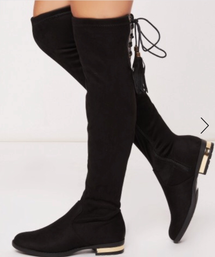 black suede flat over-the-knee boots