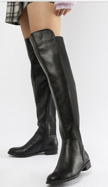 leather and fabric black flat over-the-knee boots