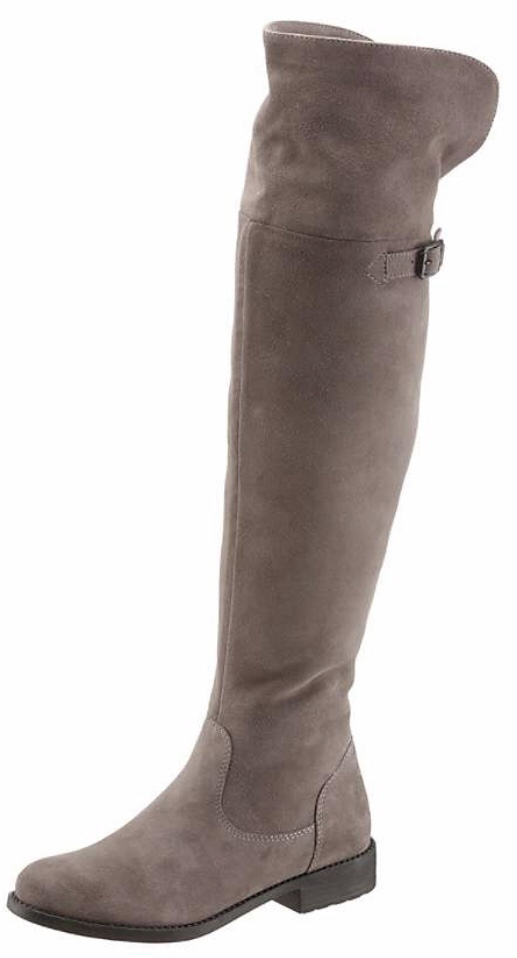 taupe flat suede over-the-knee boots