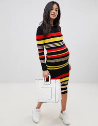 ASOS DESIGN Maternity Striped Rib Knit Dress