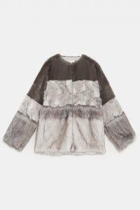 Zara Contrast Faux Fur Coat