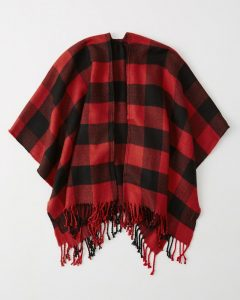 Abercrombie & Fitch Plaid Poncho