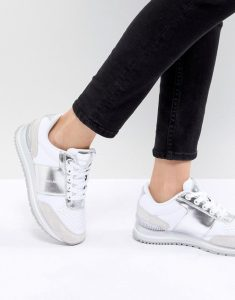 Calvin Klein Whte & Silver Chunky Sneakers