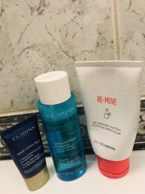 Clarins Night cream, Clarins makeup remover, Clarins face wash