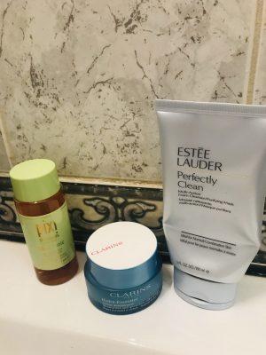 Estee lauder face wash, Clarins face cream and Pixi Toner